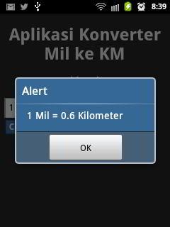 hasil aplikasi android konversi mil
