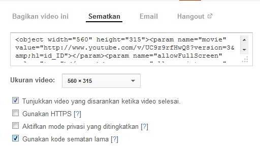 kode semat objek youtube lama