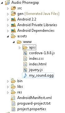 Memberi Audio Untuk Aplikasi Phonegap