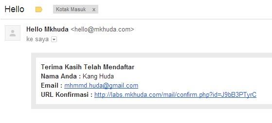 Mail dengan link konfirmasi