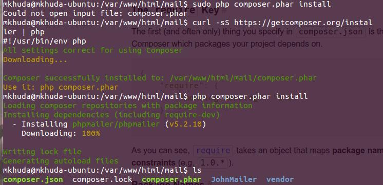 PHPMailer Composer Menggunakan Ubuntu
